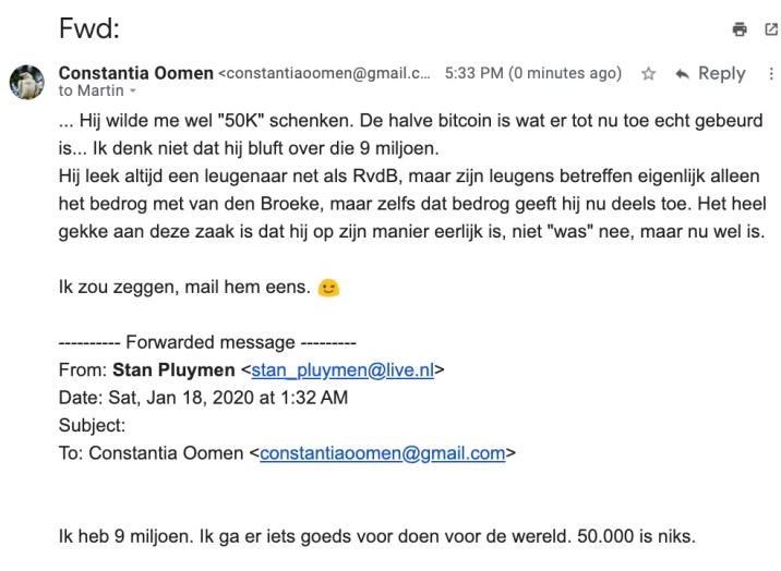 Stan Pluijmen zegt dat hij 9M heeft. Email Constantia naar Martin, 24 mei 2020.