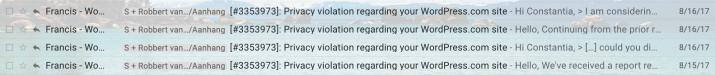 Iemand had bij Wordpress geklaagd over de nep Micha Romijn ID-foto's, Wordpress heeft ze verwijderd