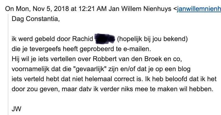 Jan Willem Nienhuys werd gebeld door Rachid