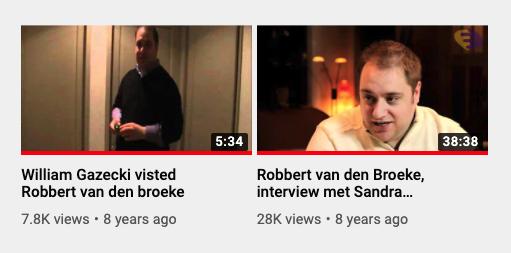 Robbert van den Broeke-video's, zoals te zien op 19 mei 2020