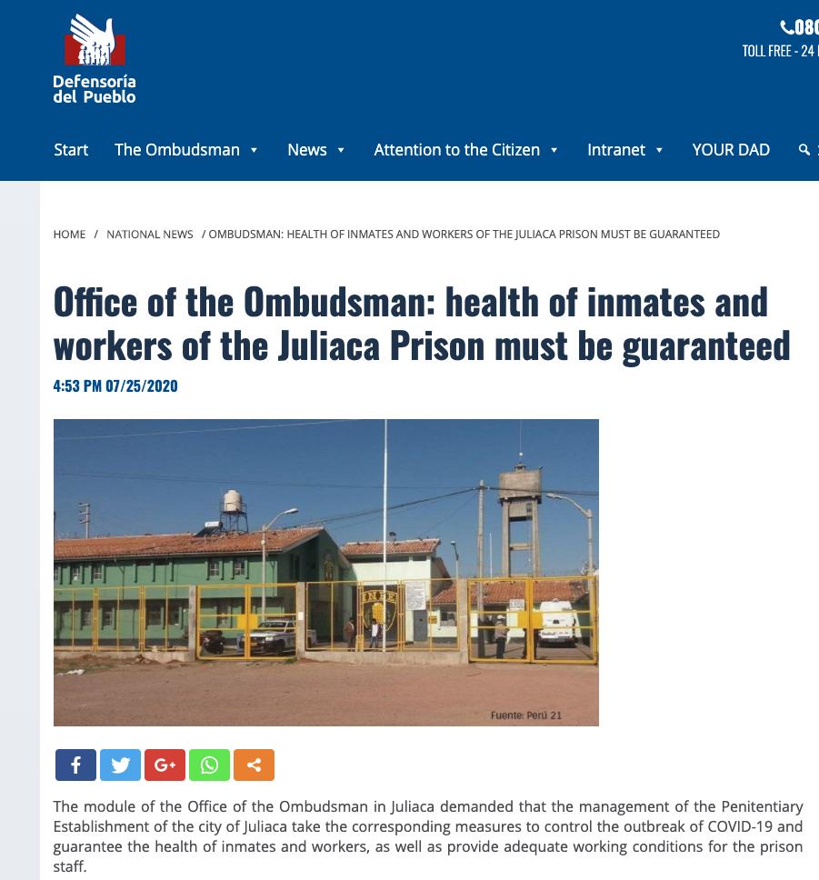 Berichtgeving in Peru, druk op site vertalen bij oproepen link https://www.defensoria.gob.pe/defensoria-del-pueblo-se-debe-garantizar-salud-de-internos-y-trabajadores-de-penal-de-juliaca/