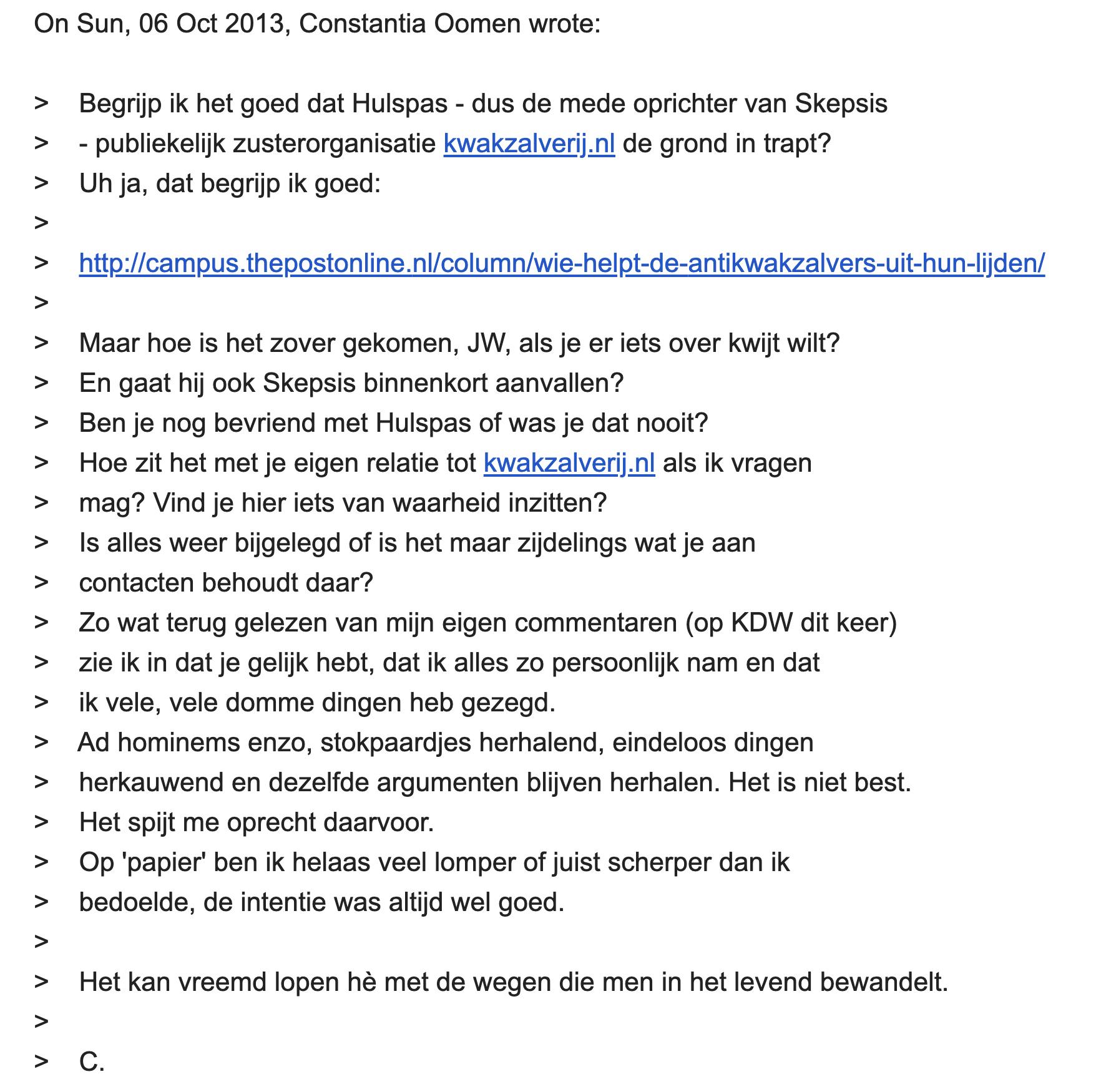 Constantia Oomen in een email naar Jan Willem Nienhuys op 6 oktober 2013